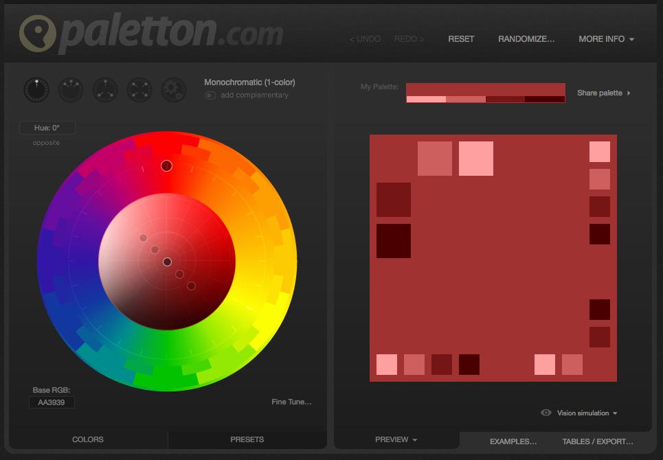 Le site paletton.com pour vous aider dans la conception de chartes graphiques
