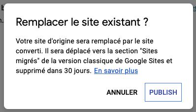 Confirmer le remplacement du site par la nouvelle version.