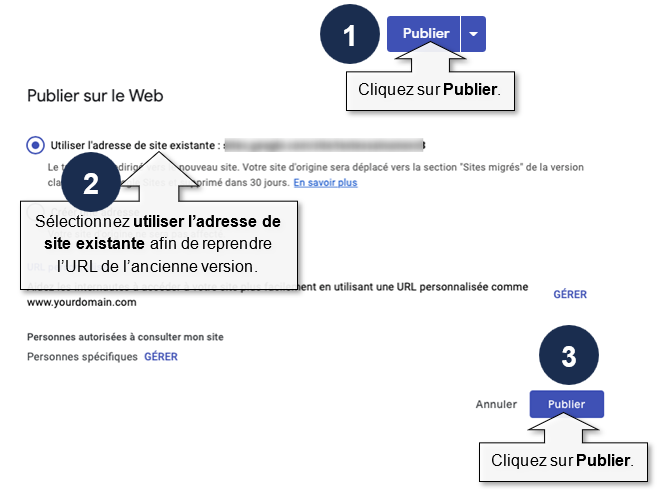 Publier la nouvelle version de votre site