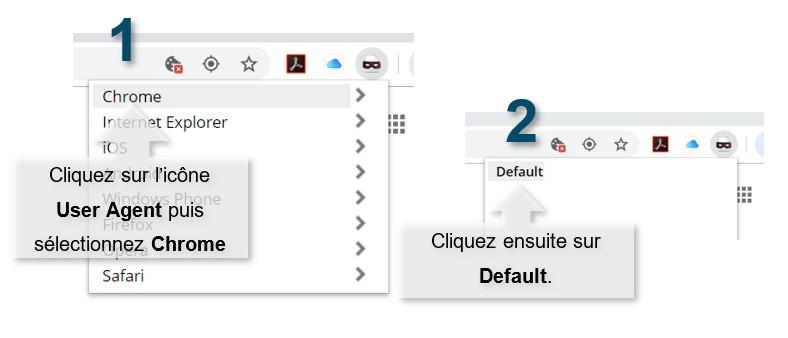 REbasculez User Agent Switcher en mode par défaut.