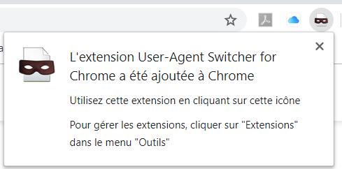 Ajout réussi de l'extension User Agent Switcher sur Chrome