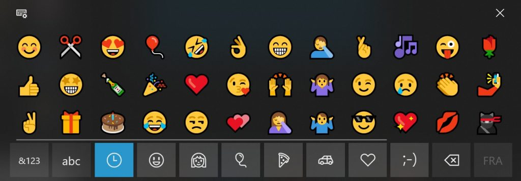 symboles, émotcônes, émojis... sous Windows 10