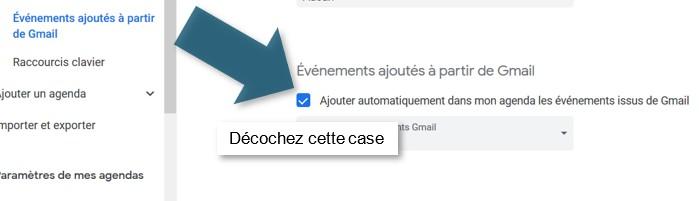 Décochez la case liée aux évènements Gmail