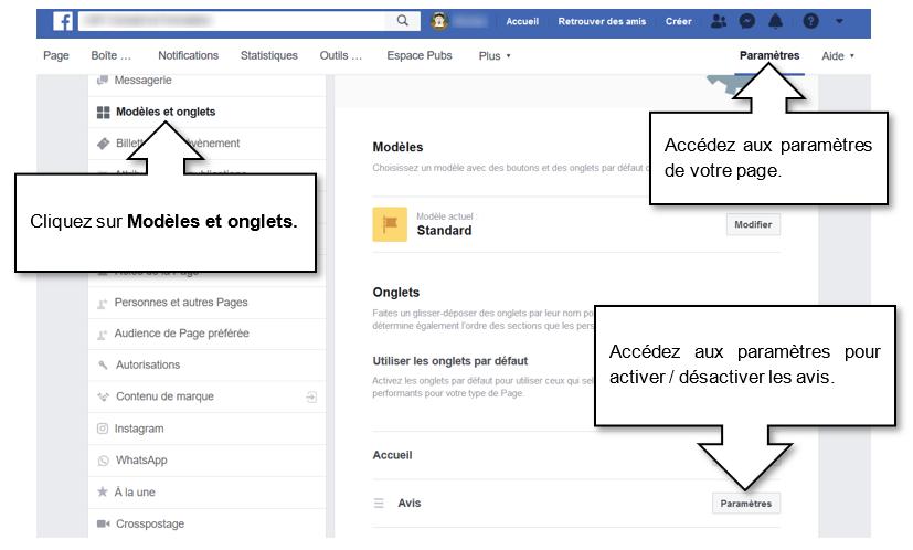 Activer / désactiver la possibilité de laisser des avis sur Facebook.