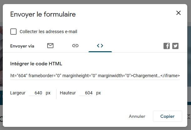 Récupérer le code d'intégration HTML de votre formulaire Google Forms