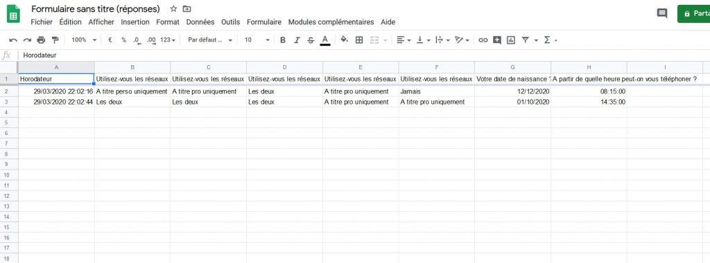 Exemple de feuille de calcul Google Sheets