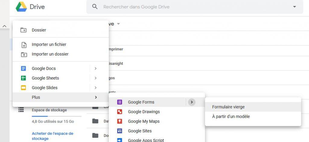 Créer un nouveau formulaire Google Forms