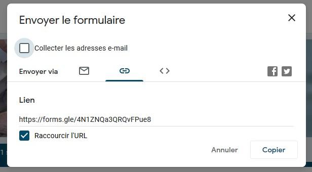 Obtenir un lien de partage du formulaire Google Forms