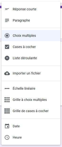 Les différents types de questions proposées par Google Forms