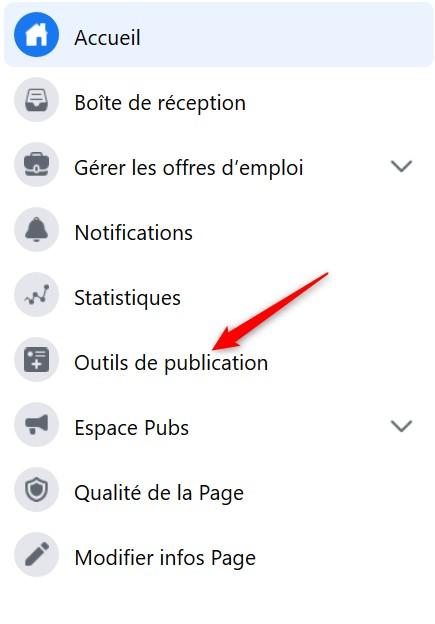 Accéder aux outils de publication de Facebook