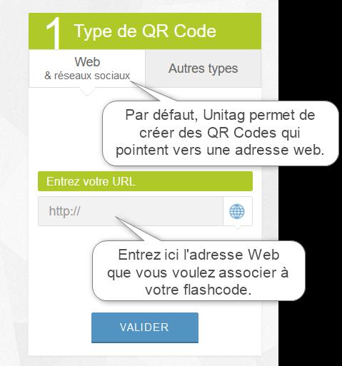 Par défaut vous pouvez créer un flashcode qui pointe vers une adresse web.