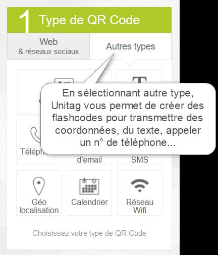 Vous pouvez créer des flashcodes de différents types.