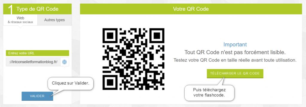 Validez votre QR code puis cliquez sur Télécharger.