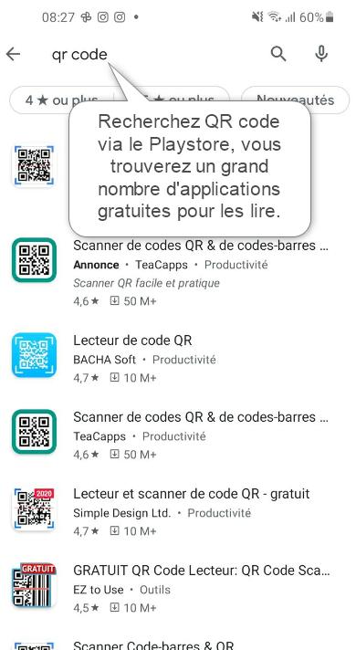 Sur Android, recherchez une appli QR Code via le Playstore.