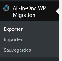 Le menu All-in-One WP Migration pour sauvegarder et restaurer votre site WordPress