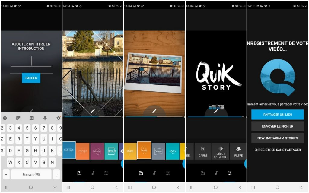 Captures d'écran de l'appli Quik de GoPro, dédiée au montage vidéo pour smartphones ou tablettes