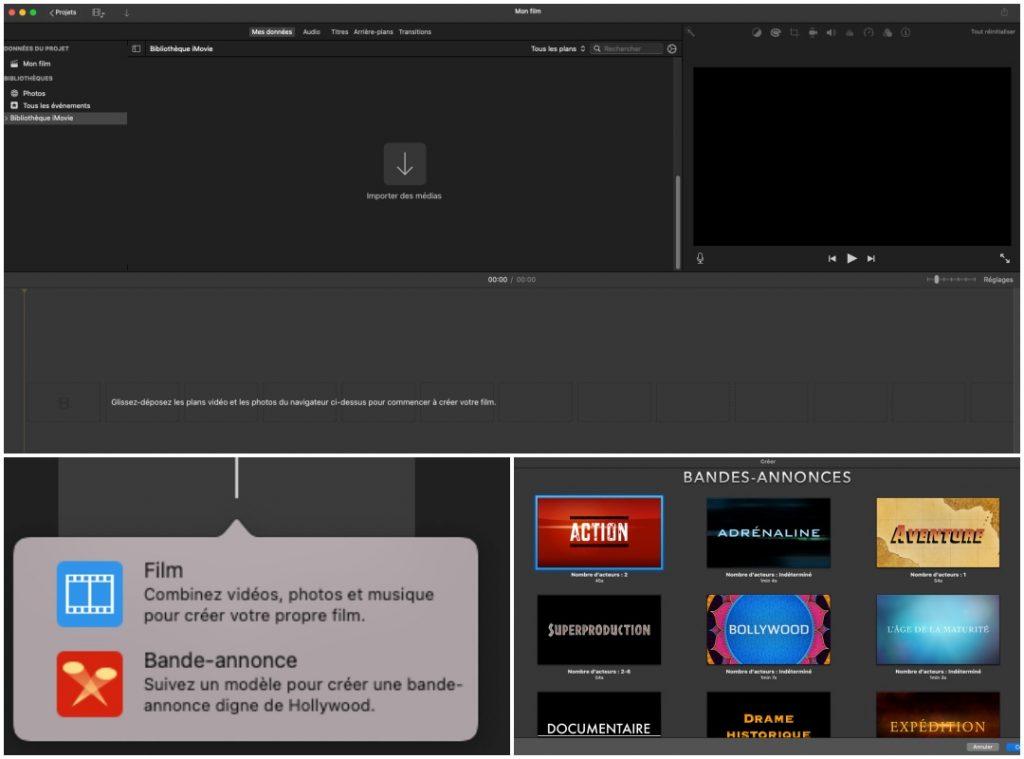 Captures d'écran du logiciel de montage iMovie par Apple
