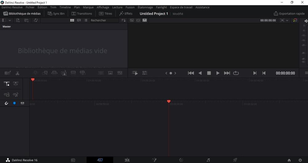 copie d'écran du logiciel DaVinci Resolve