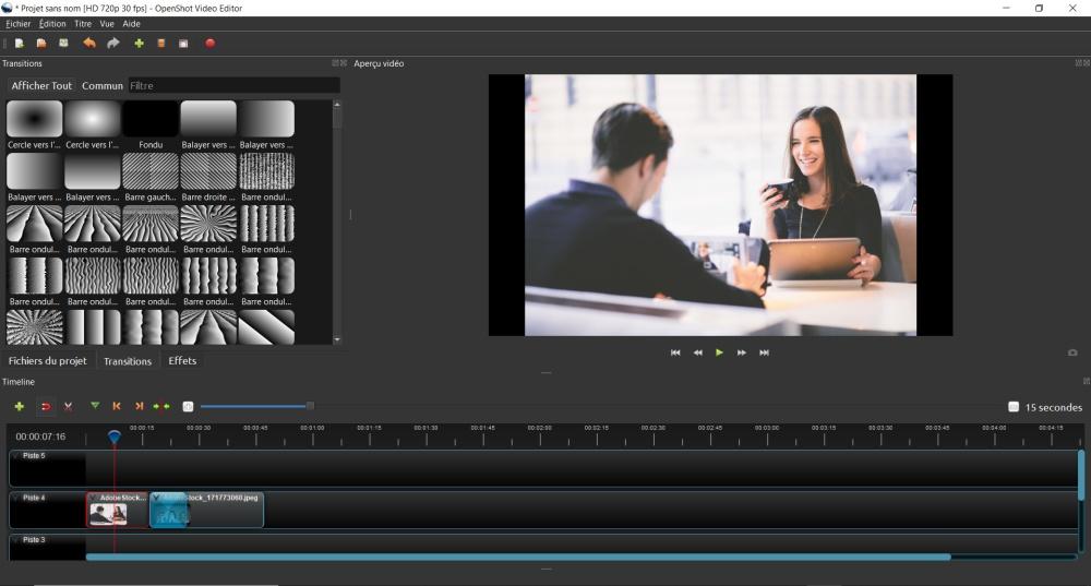 Copie d'écran du logiciel de montage Openshot Video Editor